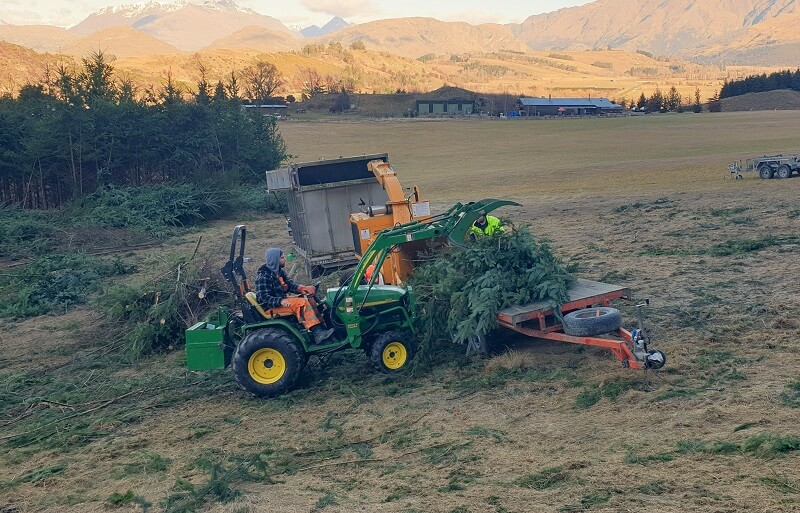 Versatile Grapple on Johnd Deere tractor feeding pine trees into a mulcher