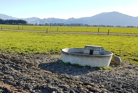 Watertrough with compacted ground