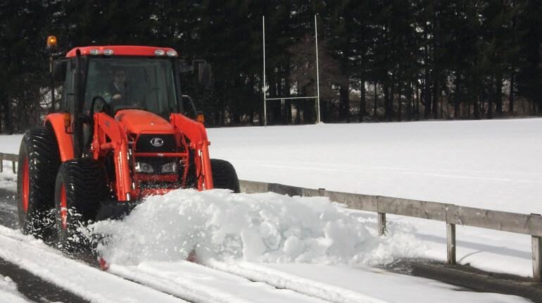 Rata Snow Plough on Kubota front end loader